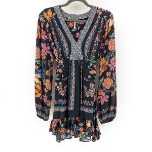 Free People   Long Sleeve Floral Ruffle Mini Dress